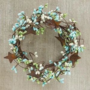 """Other - Seabreeze Pip Berry With Stars 6"""" Mini Wreath Ring"""